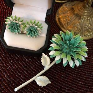 Vintage Green Enamel Flower Brooch & Earrings